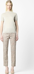 Abstract Print Trousers - length: standard; waist detail: fitted waist; pocket detail: small back pockets, pockets at the sides; waist: mid/regular rise; predominant colour: stone; occasions: casual, evening, work, holiday; fibres: cotton - stretch; hip detail: fitted at hip (bottoms); texture group: cotton feel fabrics; trends: statement prints; fit: straight leg; pattern type: fabric; pattern size: standard; pattern: patterned/print; style: standard