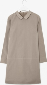 Cotton And Silk Dress - style: shift; length: mid thigh; neckline: shirt collar/peter pan/zip with opening; pattern: plain; waist detail: drop waist; predominant colour: taupe; occasions: casual, evening, work; fit: body skimming; fibres: silk - mix; hip detail: sculpting darts/pleats/seams at hip; sleeve length: long sleeve; sleeve style: standard; texture group: structured shiny - satin/tafetta/silk etc.; pattern type: fabric; pattern size: standard