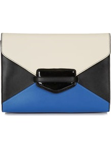 Colour Block Clutch - predominant colour: royal blue; occasions: casual, evening, occasion; type of pattern: light; style: clutch; length: hand carry; size: small; material: faux leather; finish: plain; pattern: colourblock