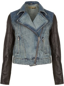 Moto Premium Leather Sleeve Denim Biker Jacket - pattern: plain; style: biker; collar: asymmetric biker; hip detail: front pockets at hip; fit: slim fit; predominant colour: denim; occasions: casual, evening, work; length: standard; fibres: cotton - 100%; waist detail: fitted waist; bust detail: contrast pattern/fabric/detail at bust; sleeve length: long sleeve; sleeve style: standard; texture group: denim; collar break: high/illusion of break when open; pattern type: fabric; pattern size: small &amp; light