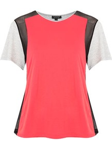 Mesh Insert Colour Block Top - neckline: round neck; style: t-shirt; shoulder detail: contrast pattern/fabric at shoulder; back detail: contrast pattern/fabric at back; predominant colour: coral; occasions: casual, evening, work; length: standard; fibres: polyester/polyamide - 100%; fit: body skimming; hip detail: contrast fabric/print detail at hip; bust detail: contrast pattern/fabric/detail at bust; sleeve length: short sleeve; sleeve style: standard; trends: fluorescent; pattern type: fabric; pattern size: small & light; pattern: colourblock; texture group: other - light to midweight