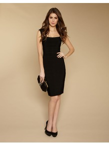 Romy Bandage Dress - style: shift; fit: tight; pattern: plain; sleeve style: sleeveless; waist detail: fitted waist; predominant colour: black; occasions: evening, work; length: on the knee; fibres: viscose/rayon - 100%; sleeve length: sleeveless; neckline: low square neck; pattern type: fabric; texture group: other - stretchy