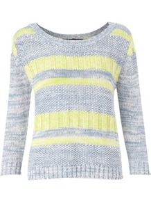 Dolly Dash Jumper - neckline: round neck; style: standard; secondary colour: primrose yellow; predominant colour: light grey; occasions: casual; length: standard; fibres: cotton - 100%; fit: standard fit; sleeve length: 3/4 length; sleeve style: standard; texture group: knits/crochet; pattern type: knitted - other; pattern size: standard; pattern: patterned/print