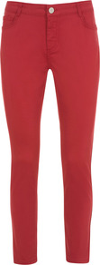 Poppy Cropped Jeans - pattern: plain; pocket detail: traditional 5 pocket; style: slim leg; waist: mid/regular rise; predominant colour: true red; occasions: casual, evening, holiday; length: ankle length; fibres: cotton - stretch; texture group: denim; pattern type: fabric