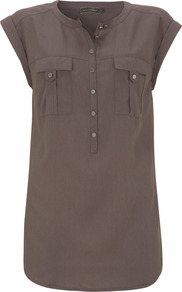 Mocha Military Blouse - sleeve style: capped; pattern: plain; length: below the bottom; bust detail: pocket detail at bust; style: blouse; predominant colour: chocolate brown; occasions: casual, work, holiday; neckline: mandarin with v-neck; fibres: viscose/rayon - 100%; fit: body skimming; sleeve length: short sleeve; texture group: cotton feel fabrics; pattern type: fabric