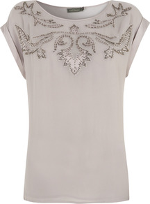 Grey Beaded Applique Tee - neckline: round neck; sleeve style: capped; bust detail: added detail/embellishment at bust; style: t-shirt; predominant colour: mid grey; occasions: casual, evening, work, holiday; length: standard; fibres: viscose/rayon - 100%; fit: body skimming; shoulder detail: added shoulder detail; sleeve length: short sleeve; pattern type: fabric; pattern size: small & light; pattern: patterned/print; texture group: jersey - stretchy/drapey; embellishment: beading