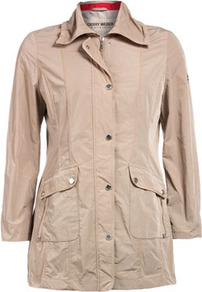 Jacket With Doubled Pockets - pattern: plain; style: single breasted blazer; length: below the bottom; hip detail: front pockets at hip; predominant colour: stone; occasions: casual; fit: straight cut (boxy); fibres: polyester/polyamide - 100%; collar: shirt collar/peter pan/zip with opening; sleeve length: long sleeve; sleeve style: standard; collar break: high; pattern type: fabric; texture group: other - light to midweight