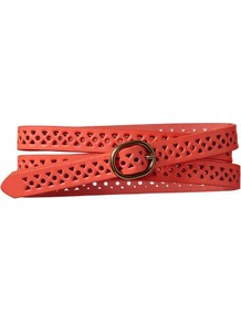 Lasercut Belt - predominant colour: coral; occasions: casual, holiday; type of pattern: small; style: classic; size: skinny; worn on: waist; material: leather; finish: plain; pattern: patterned/print