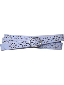 Lasercut Belt - predominant colour: pale blue; occasions: casual, work, holiday; type of pattern: small; style: classic; size: standard; worn on: hips; material: leather; finish: plain; pattern: patterned/print