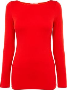 Women's Boatneck Long Sleeved Tee, Red - neckline: slash/boat neckline; pattern: plain; style: t-shirt; predominant colour: true red; occasions: casual, work; length: standard; fibres: polyester/polyamide - stretch; fit: body skimming; sleeve length: long sleeve; sleeve style: standard; pattern type: fabric; texture group: jersey - stretchy/drapey