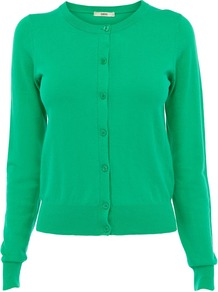Women's The Crew Cardi, Green - neckline: round neck; hip detail: fitted at hip; predominant colour: emerald green; occasions: casual, work; length: standard; style: standard; fibres: cotton - mix; fit: slim fit; sleeve length: long sleeve; sleeve style: standard; texture group: knits/crochet; pattern type: knitted - fine stitch