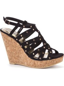 Black Stud Cage Cork Wedges - secondary colour: gold; predominant colour: black; occasions: evening, holiday; material: faux leather; embellishment: studs; ankle detail: ankle strap; heel: wedge; toe: open toe/peeptoe; style: strappy; finish: plain; pattern: plain; heel height: very high