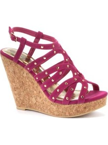 Fuchsia Stud Wedge Sandals - predominant colour: hot pink; occasions: evening, holiday; material: faux leather; embellishment: studs; ankle detail: ankle strap; heel: wedge; toe: open toe/peeptoe; style: strappy; finish: plain; pattern: plain; heel height: very high