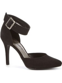 Black Buckle Ankle Strap Pointed Court Shoes - predominant colour: black; occasions: evening, work, occasion; material: faux leather; heel height: high; embellishment: buckles; ankle detail: ankle strap; heel: stiletto; toe: pointed toe; style: courts; finish: plain; pattern: plain