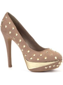Light Brown Spike Stud Platform Court Shoes - predominant colour: stone; secondary colour: gold; occasions: evening, occasion, holiday; material: faux leather; embellishment: studs; heel: platform; toe: open toe/peeptoe; style: courts; finish: plain; pattern: plain; heel height: very high