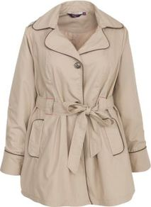 Inspire Stone Contrast Piping Trench Coat - pattern: plain; length: standard; style: trench coat; fit: slim fit; collar: standard lapel/rever collar; predominant colour: stone; occasions: casual, work; fibres: polyester/polyamide - mix; waist detail: belted waist/tie at waist/drawstring; sleeve length: long sleeve; sleeve style: standard; collar break: medium; pattern type: fabric; pattern size: standard; texture group: other - light to midweight