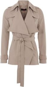 Mink Brown Wide Collar Drape Front Trench Jacket - pattern: plain; length: standard; collar: wide lapels; style: trench coat; fit: slim fit; predominant colour: nude; occasions: casual, work; fibres: polyester/polyamide - 100%; waist detail: belted waist/tie at waist/drawstring; shoulder detail: discreet epaulette; sleeve length: long sleeve; sleeve style: standard; collar break: medium; pattern type: fabric; pattern size: standard; texture group: other - light to midweight