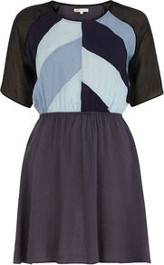 Denim Blue Patchwork Dress - length: mid thigh; fit: fitted at waist; waist detail: fitted waist; predominant colour: pale blue; secondary colour: charcoal; occasions: casual, evening; style: fit & flare; fibres: viscose/rayon - 100%; neckline: crew; sleeve length: short sleeve; sleeve style: standard; trends: glamorous day shifts; pattern type: fabric; pattern size: standard; pattern: patterned/print; texture group: other - light to midweight