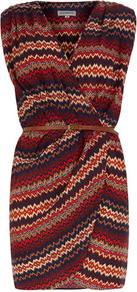 Multi Aztec Deep V Belt Dress - style: faux wrap/wrap; length: mid thigh; neckline: v-neck; sleeve style: sleeveless; waist detail: belted waist/tie at waist/drawstring; predominant colour: true red; secondary colour: taupe; occasions: casual, evening, holiday; fit: body skimming; fibres: polyester/polyamide - 100%; shoulder detail: flat/draping pleats/ruching/gathering at shoulder; sleeve length: sleeveless; trends: glamorous day shifts; bust detail: tiers/frills/bulky drapes/pleats; pattern type: fabric; pattern size: small & busy; pattern: patterned/print; texture group: other - light to midweight