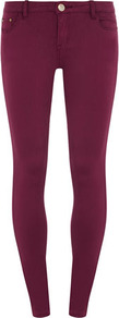 Wine Skinny Jeans - style: skinny leg; length: standard; pattern: plain; pocket detail: traditional 5 pocket; waist: mid/regular rise; predominant colour: burgundy; occasions: casual, evening; fibres: cotton - stretch; jeans detail: dark wash; texture group: denim; pattern type: fabric