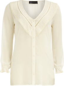 Kardashian Cream Pleat Blouse - neckline: v-neck; pattern: plain; style: blouse; bust detail: ruching/gathering/draping/layers/pintuck pleats at bust; predominant colour: ivory; occasions: casual, evening, work; length: standard; fibres: polyester/polyamide - 100%; fit: straight cut; sleeve length: 3/4 length; sleeve style: standard; texture group: sheer fabrics/chiffon/organza etc.; pattern type: fabric; pattern size: standard