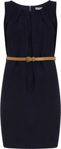 Navy Long Pleat Belt Dress - style: shift; length: mid thigh; fit: tailored/fitted; pattern: plain; sleeve style: sleeveless; waist detail: belted waist/tie at waist/drawstring; predominant colour: navy; secondary colour: tan; occasions: casual, evening, work; fibres: polyester/polyamide - 100%; neckline: crew; sleeve length: sleeveless; trends: glamorous day shifts; bust detail: tiers/frills/bulky drapes/pleats; pattern type: fabric; texture group: other - light to midweight