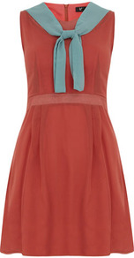 Rust Neck Ribbon Dress - style: shift; fit: fitted at waist; sleeve style: sleeveless; waist detail: fitted waist; neckline: pussy bow; secondary colour: turquoise; predominant colour: terracotta; occasions: casual, work; length: just above the knee; fibres: polyester/polyamide - stretch; sleeve length: sleeveless; texture group: sheer fabrics/chiffon/organza etc.; pattern type: fabric; pattern: colourblock