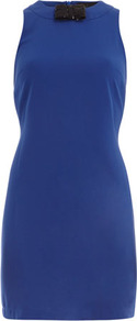 Kardashian Blue Bow Dress - style: shift; length: mid thigh; pattern: plain; sleeve style: sleeveless; predominant colour: royal blue; occasions: evening, occasion; fit: body skimming; fibres: polyester/polyamide - stretch; neckline: crew; sleeve length: sleeveless; texture group: jersey - stretchy/drapey; embellishment: corsage
