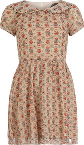 Cream Peter Pan Collar Dress - style: tea dress; waist detail: fitted waist; predominant colour: stone; occasions: casual, work; length: just above the knee; fit: fitted at waist & bust; fibres: polyester/polyamide - stretch; neckline: no opening/shirt collar/peter pan; hip detail: soft pleats at hip/draping at hip/flared at hip; sleeve length: short sleeve; sleeve style: standard; texture group: sheer fabrics/chiffon/organza etc.; trends: high impact florals; pattern type: fabric; pattern size: standard; pattern: patterned/print