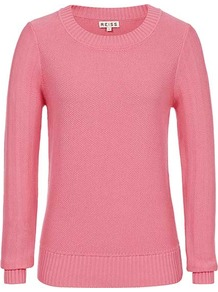 Bistro Mini Textured Crew Neck - neckline: round neck; style: standard; predominant colour: pink; occasions: casual, work; length: standard; fibres: cotton - 100%; fit: standard fit; sleeve length: long sleeve; sleeve style: standard; texture group: knits/crochet; pattern type: knitted - other