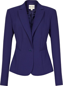 Maddy One Button Jacket - pattern: plain; style: single breasted blazer; collar: standard lapel/rever collar; predominant colour: purple; occasions: evening, work, occasion; length: standard; fit: tailored/fitted; fibres: polyester/polyamide - 100%; sleeve length: long sleeve; sleeve style: standard; collar break: medium; pattern type: fabric; texture group: woven light midweight