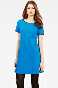 Faux Leather Trim Shift Dress - style: shift; length: mid thigh; neckline: round neck; pattern: plain; predominant colour: diva blue; occasions: evening, work; fit: soft a-line; fibres: polyester/polyamide - stretch; sleeve length: short sleeve; sleeve style: standard; pattern type: fabric; texture group: jersey - stretchy/drapey