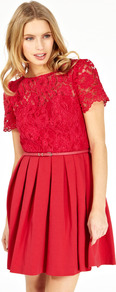 Matilda Lace Dress - length: mid thigh; pattern: plain; waist detail: belted waist/tie at waist/drawstring; predominant colour: true red; occasions: evening, occasion; fit: fitted at waist & bust; style: fit & flare; fibres: cotton - mix; neckline: crew; hip detail: structured pleats at hip; bust detail: contrast pattern/fabric/detail at bust; sleeve length: short sleeve; sleeve style: standard; texture group: lace; pattern type: fabric; embellishment: lace