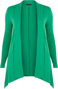 Apple Cover Up - neckline: shawl; length: below the bottom; style: open front; predominant colour: emerald green; occasions: casual, work; fibres: polyester/polyamide - stretch; fit: loose; hip detail: dip hem; sleeve length: long sleeve; sleeve style: standard; texture group: knits/crochet; pattern type: knitted - other
