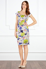 Floret Dress - style: shift; sleeve style: capped; fit: tailored/fitted; waist detail: fitted waist; hip detail: fitted at hip; occasions: casual, evening, work, occasion, holiday; length: just above the knee; fibres: cotton - stretch; predominant colour: multicoloured; sleeve length: short sleeve; texture group: structured shiny - satin/tafetta/silk etc.; trends: high impact florals, glamorous day shifts; neckline: low square neck; pattern type: fabric; pattern size: big &amp; busy; pattern: florals