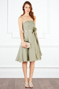 Allure Short Dress - neckline: strapless (straight/sweetheart); pattern: plain; sleeve style: strapless; waist detail: belted waist/tie at waist/drawstring; bust detail: ruching/gathering/draping/layers/pintuck pleats at bust; predominant colour: sage; occasions: evening, occasion; length: on the knee; fit: fitted at waist & bust; style: fit & flare; fibres: silk - 100%; hip detail: soft pleats at hip/draping at hip/flared at hip; sleeve length: sleeveless; texture group: sheer fabrics/chiffon/organza etc.; pattern type: fabric; embellishment: corsage