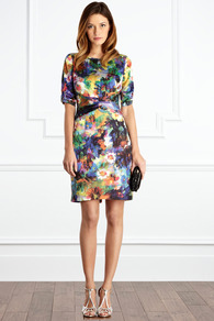 Winslow Dress - style: shift; neckline: round neck; fit: tailored/fitted; waist detail: twist front waist detail/nipped in at waist on one side/soft pleats/draping/ruching/gathering waist detail; occasions: evening, occasion; length: just above the knee; fibres: polyester/polyamide - 100%; predominant colour: multicoloured; sleeve length: 3/4 length; sleeve style: standard; texture group: structured shiny - satin/tafetta/silk etc.; trends: high impact florals; pattern type: fabric; pattern size: standard; pattern: florals