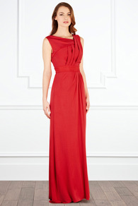 Leighton Jersey Maxi - fit: empire; pattern: plain; sleeve style: sleeveless; style: maxi dress; waist detail: fitted waist; neckline: asymmetric; bust detail: ruching/gathering/draping/layers/pintuck pleats at bust; predominant colour: true red; occasions: evening, occasion; length: floor length; fibres: viscose/rayon - 100%; hip detail: soft pleats at hip/draping at hip/flared at hip; sleeve length: sleeveless; pattern type: fabric; texture group: jersey - stretchy/drapey