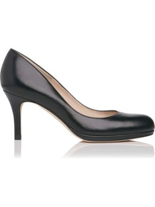 Sybila Leather Platform Court Shoe Black - predominant colour: black; occasions: evening, work; material: leather; heel height: mid; heel: platform; toe: round toe; style: courts; finish: plain; pattern: plain