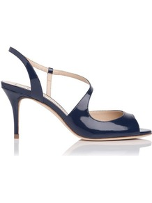 Palmita Patent Leather Asymmetric Strappy Sandal Blue Navy - predominant colour: navy; occasions: evening, occasion; material: leather; heel height: high; ankle detail: ankle strap; heel: stiletto; toe: open toe/peeptoe; style: standard; finish: patent; pattern: plain