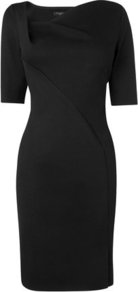Catrina Asymmetrical Neckline Dress Black - style: shift; neckline: v-neck; fit: tailored/fitted; pattern: plain; waist detail: fitted waist; bust detail: ruching/gathering/draping/layers/pintuck pleats at bust; predominant colour: black; occasions: evening, work, occasion; length: just above the knee; fibres: polyester/polyamide - stretch; sleeve length: short sleeve; sleeve style: standard; texture group: crepes; trends: glamorous day shifts; pattern type: fabric