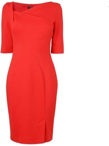 Catrina Asymmetrical Neckline Dress Red Strawberry - style: shift; neckline: v-neck; fit: tailored/fitted; pattern: plain; bust detail: ruching/gathering/draping/layers/pintuck pleats at bust; predominant colour: true red; occasions: evening, work; length: just above the knee; fibres: nylon - mix; sleeve length: half sleeve; sleeve style: standard; texture group: crepes; trends: glamorous day shifts; pattern type: fabric