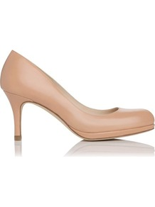 Sybila Leather Platform Court Shoe Pink Blush - predominant colour: nude; occasions: evening, work, occasion; material: leather; heel height: high; heel: platform; toe: round toe; style: courts; finish: plain; pattern: plain