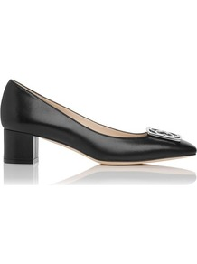 Iris Block Heel Leather Shoe Black - predominant colour: black; occasions: evening, work; material: leather; heel height: mid; heel: block; toe: square toe; style: courts; finish: plain; pattern: plain; embellishment: chain/metal