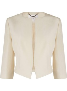 Vanda Cropped Jacket Cream Champagne - pattern: plain; style: cropped; collar: round collar/collarless; length: cropped; predominant colour: champagne; occasions: casual, evening, work, occasion; fit: tailored/fitted; fibres: cotton - mix; waist detail: fitted waist; sleeve length: 3/4 length; sleeve style: standard; texture group: cotton feel fabrics; collar break: low/open; pattern type: fabric; pattern size: standard