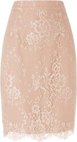 Essie Lace Pencil Skirt Natural Powder - pattern: plain; style: pencil; fit: tailored/fitted; waist detail: fitted waist; waist: high rise; predominant colour: blush; occasions: evening, work, occasion; length: just above the knee; fibres: polyester/polyamide - 100%; texture group: lace; pattern type: fabric; pattern size: big & light