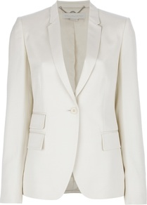 Three Pocket Blazer - pattern: plain; style: single breasted blazer; hip detail: side pockets at hip; length: below the bottom; collar: standard lapel/rever collar; predominant colour: ivory; occasions: casual, evening, work, occasion; fit: tailored/fitted; fibres: cotton - mix; waist detail: fitted waist; back detail: back vent/flap at back; sleeve length: long sleeve; sleeve style: standard; texture group: cotton feel fabrics; trends: tuxedo; collar break: low/open; pattern type: fabric; pattern size: standard