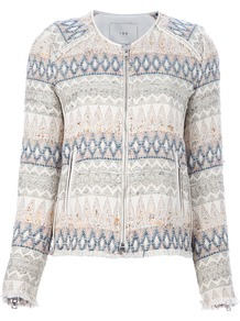 'Blaze' Embroidered Jacket - pattern: plain; bust detail: added detail/embellishment at bust; collar: round collar/collarless; style: boxy; predominant colour: white; occasions: casual, evening, work; length: standard; fit: straight cut (boxy); fibres: cotton - mix; waist detail: fitted waist; sleeve length: long sleeve; sleeve style: standard; trends: statement prints, modern geometrics; collar break: high; pattern type: fabric; pattern size: small & busy; texture group: woven bulky/heavy; embellishment: embroidered