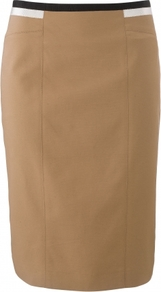 Astrid Skirt - pattern: plain; style: pencil; fit: tailored/fitted; hip detail: fitted at hip; waist: mid/regular rise; predominant colour: camel; occasions: casual, work; length: on the knee; fibres: cotton - stretch; texture group: cotton feel fabrics; pattern type: fabric