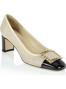 Chainomid Patent Pump - predominant colour: ivory; secondary colour: black; occasions: evening, work, occasion; material: leather; heel height: mid; embellishment: buckles; heel: block; toe: square toe; style: courts; finish: plain; pattern: colourblock